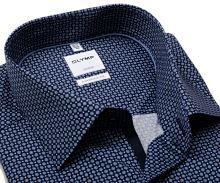 Koszula Olymp Comfort Fit – ciemnoniebieska z jasnoniebieskim wzorem i wewnętrzną plisą - krótki rękaw