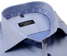 Koszula Eterna Comfort Fit Lotus Shirt - stalowo niebieska luksusowa z wewnętrzną stójką