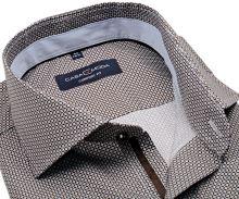 Koszula Casa Moda Comfort Fit – w brązowy-niebieski wzór z jasnoniebieską wewnętrzną stójką
