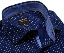 Koszula Olymp Level Five – ciemnoniebieska w biały wzór i drobne kropki