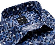 Koszula Olymp Modern Fit – designerska w unikalny niebiesko-bialy wzór mozaiki