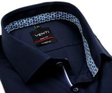 Koszula Venti Body Fit Hyperflex Twill – ciemnoniebieska elastyczna z wewnętrzną stójką i mankietem