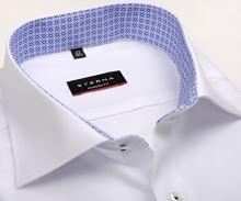 Koszula Eterna Modern Fit – biała o delikatnej strukturze, z niebiesko-białą wewnętrzną stójką - krótki rękaw