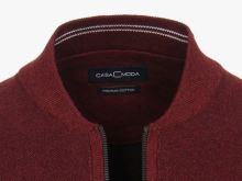 Bavlněný rozepínací svetr Casa Moda – vínově červený - extra prodloužený rukáv