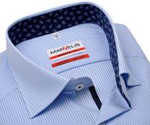 Koszula Marvelis Modern Fit – w jasnoniebieskie prążki z niebieską wewnętrzną stójką i mankietem