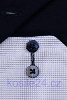 Koszula Eterna Comfort Fit – z niebieskim tkanym wzorem i kołnierzykiem wewnętrznym - extra długi rękaw