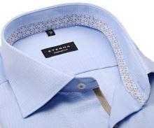 Koszula Eterna Comfort Fit – bladoniebieska z strukturą, z jasnoniebiesko-beżową wewnętrzną stójką