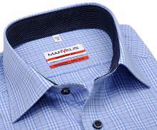 Koszula Marvelis Modern Fit – w jasnoniebieskią kratkę z stójką wewnętrzną - extra długi rękaw