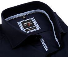 Koszula Olymp Level Five – luksusowa ciemnoniebieska z strukturą i wewnętrzną plisą - extra długi rękaw
