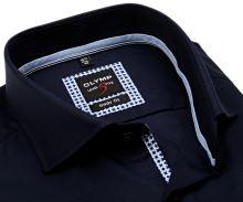 Koszula Olymp Level Five – luksusowa granatowa z diagonalną strukturą i wewnętrzną plisą