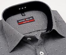 Koszula Marvelis Body Fit – w czarną kratkę i wyszytym wzorem