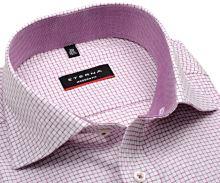 Koszula ekskluzywna Eterna Modern Fit Twill – w fioletowo-czerwoną krateczkę z wewnętrzną stojką