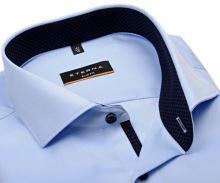 Koszula Eterna Slim Fit Cover - jasnoniebieska luksusowa i nieprześwitująca z granatową stójką wewnętrzną