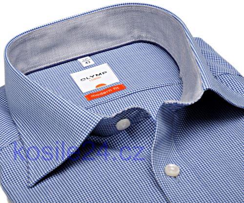 Koszula Olymp Luxor Modern Fit – w modrą krateczkę z kołnierzykiem i mankietami